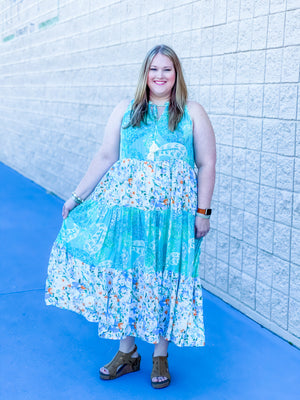 Curvy Beauty In Belize Midi Dress