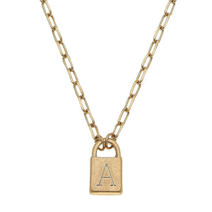 Kinsley Padlock Initial Necklace in Worn Gold