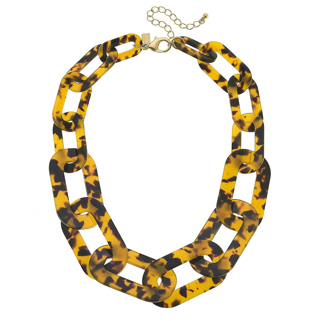 Legacy Resin Chain Link Statement Necklace in Tortoise