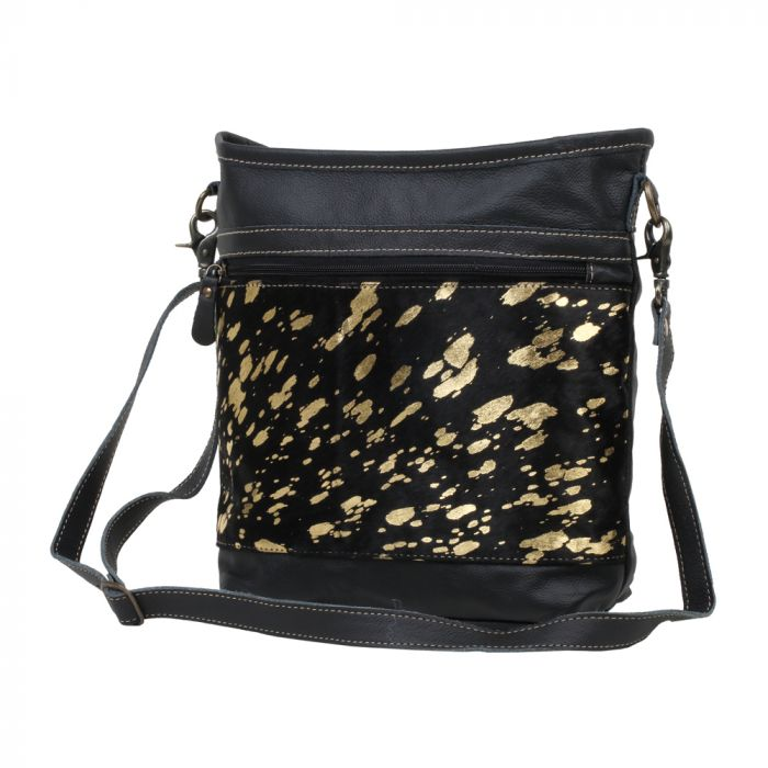 The Grace Black Gold Speckled Hairon Bag