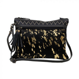 Small Black Speckled Gold Hairon Crossbody Bag