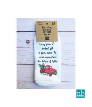 Christmas Truck James 1:17 Socks