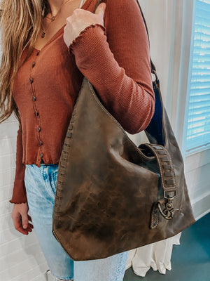 Leather Braided Hobo