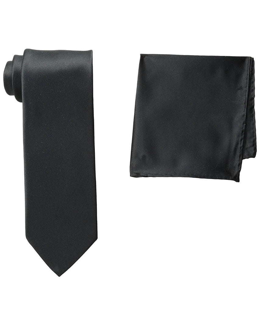 Stacy Adams Solid Black Tie and Hanky - On Time Fashions Tuscaloosa