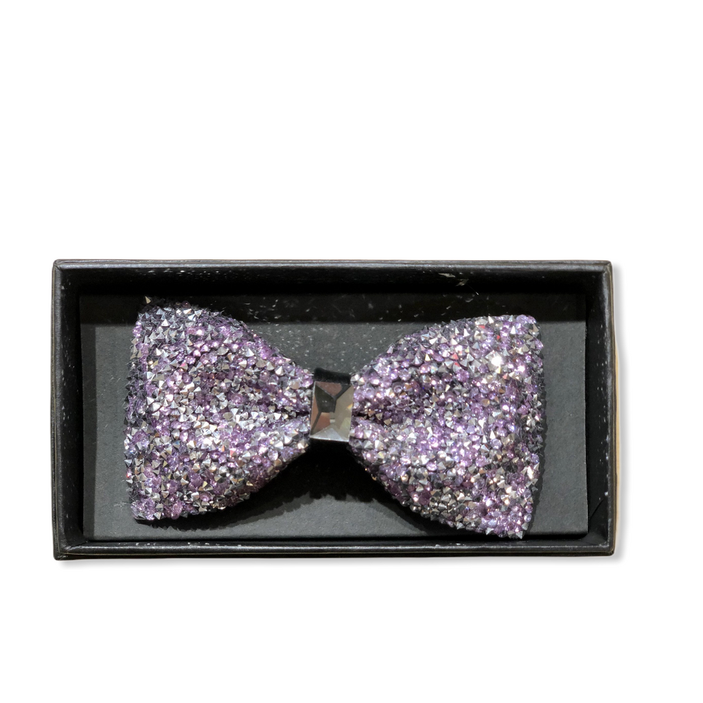 Lavender/Silver Crystal Bow Tie - On Time Fashions Tuscaloosa