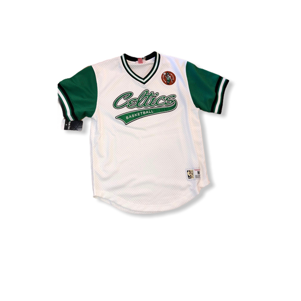 Mitchell & Ness: Boston Celtics Mesh V-Neck - On Time Fashions Tuscaloosa