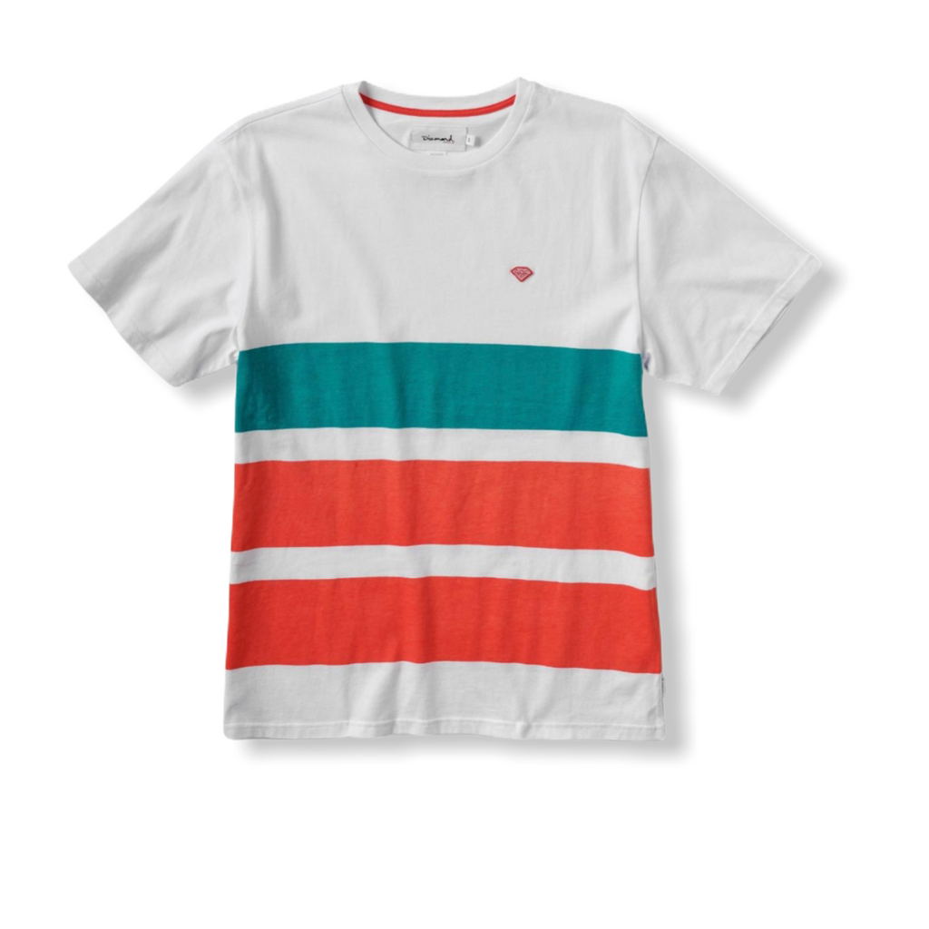 DIAMOND SUPPLY: Brilliant Patch Striped Tee B19DMTF002 - On Time Fashions Tuscaloosa