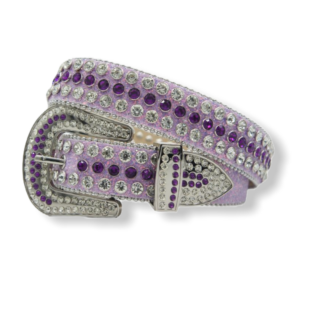 DNA PREMIUM PURPLE AND CLEAR CRYSTAL BELT - On Time Fashions Tuscaloosa