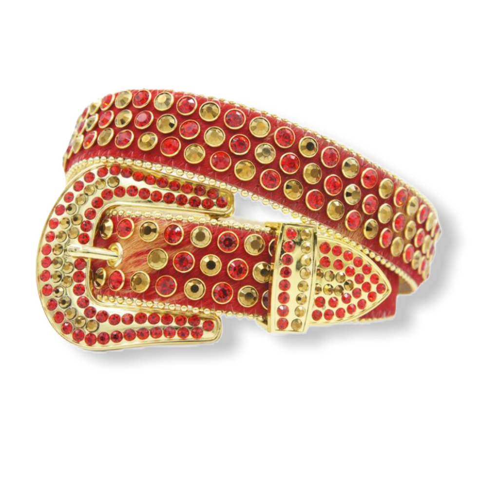 DNA PREMIUM RED &. GOLD HORSE HAIR CRYSTAL BELT - On Time Fashions Tuscaloosa