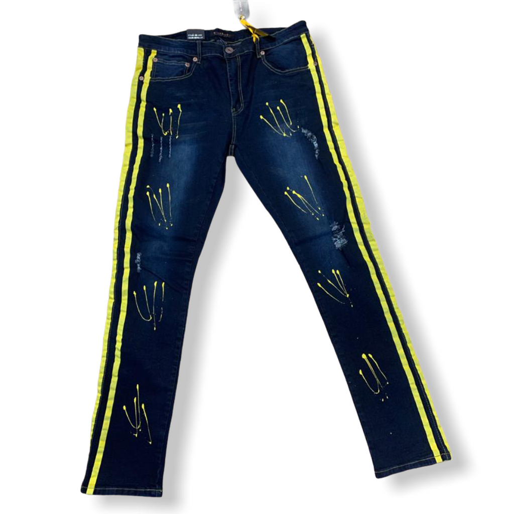 M. SOCIETY: Stripe/Paint Jeans MS-13089 - On Time Fashions Tuscaloosa