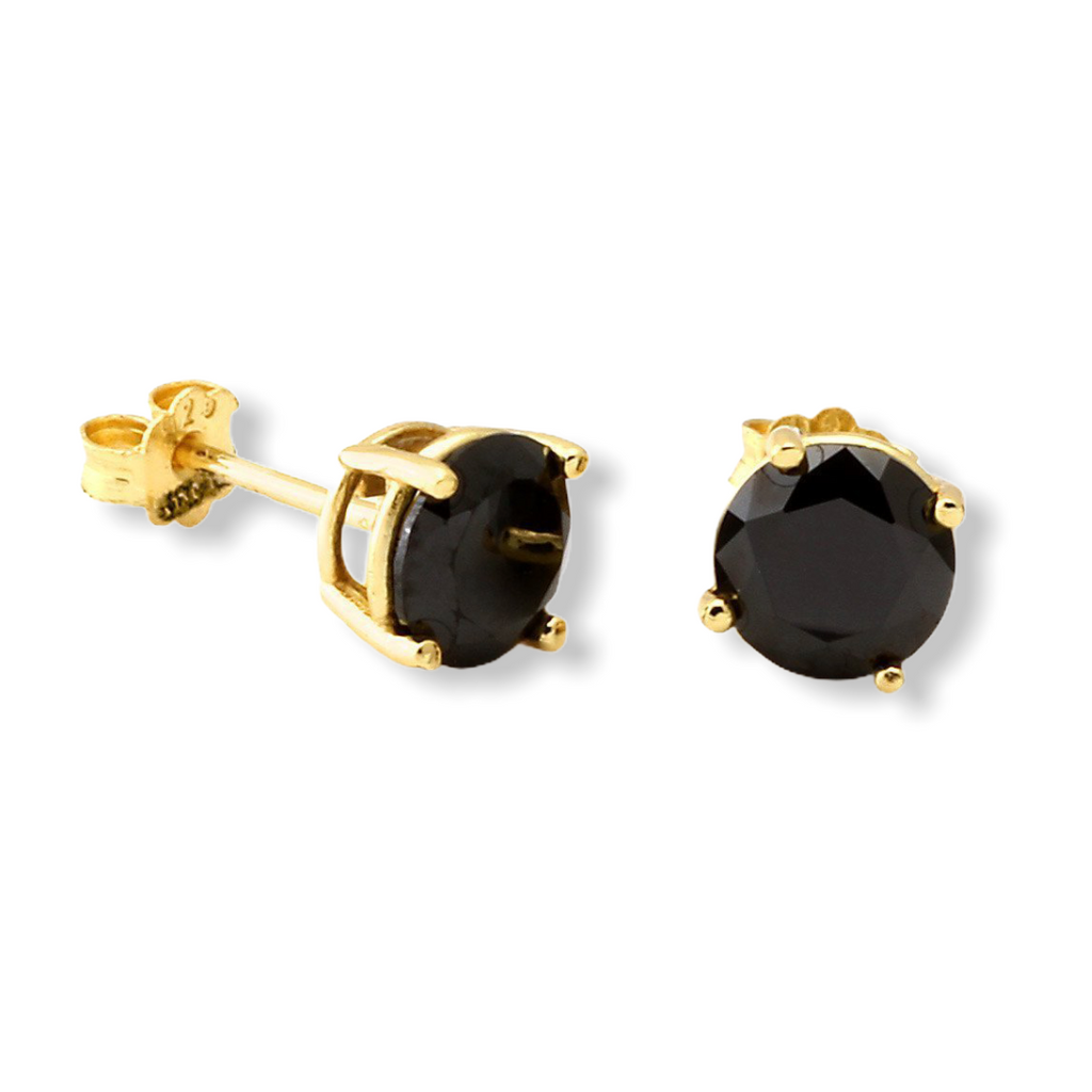 KING ICE: Sterling Silver Round Onyx Earrings - On Time Fashions Tuscaloosa