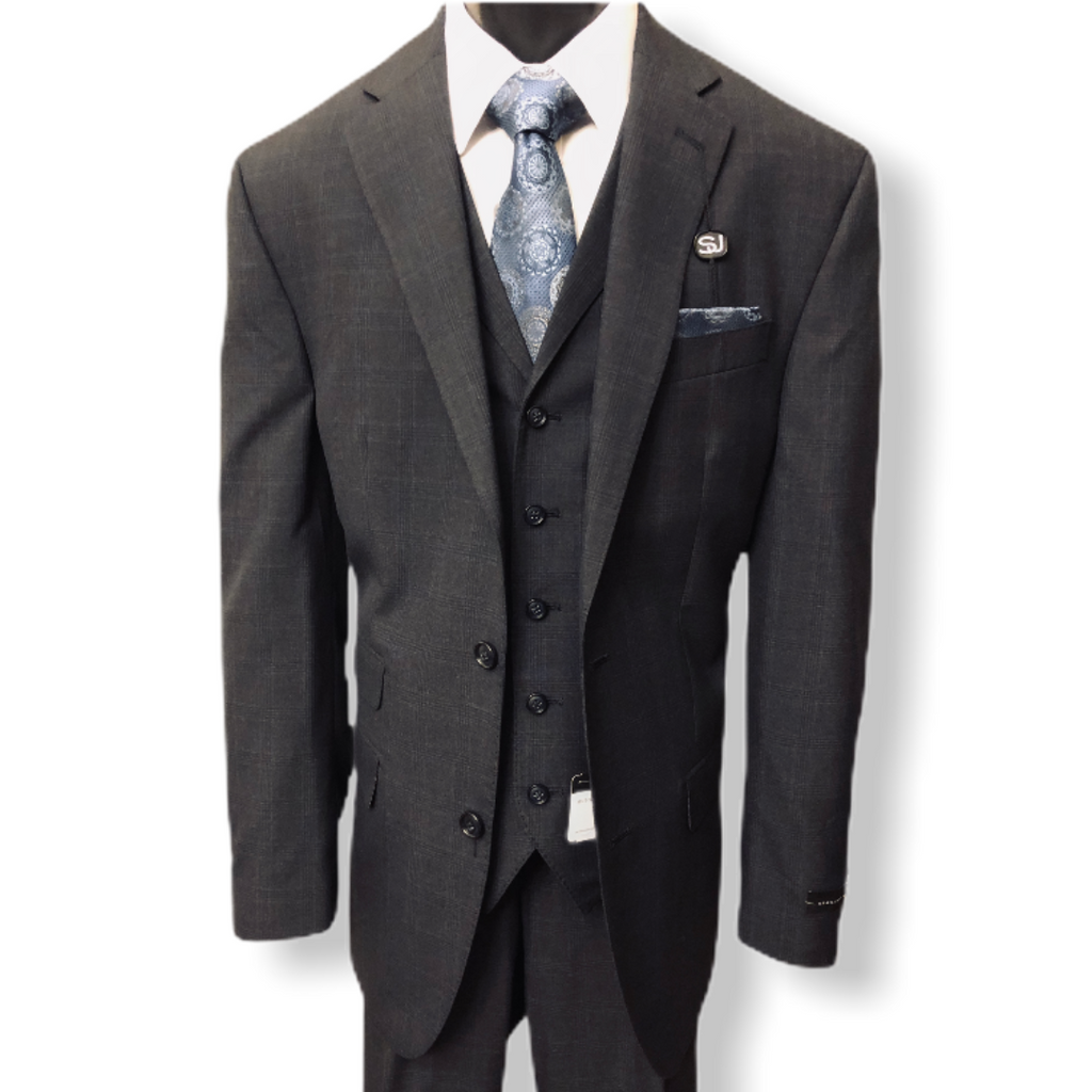 Sean John 3pc. Plaid Suit - On Time Fashions Tuscaloosa