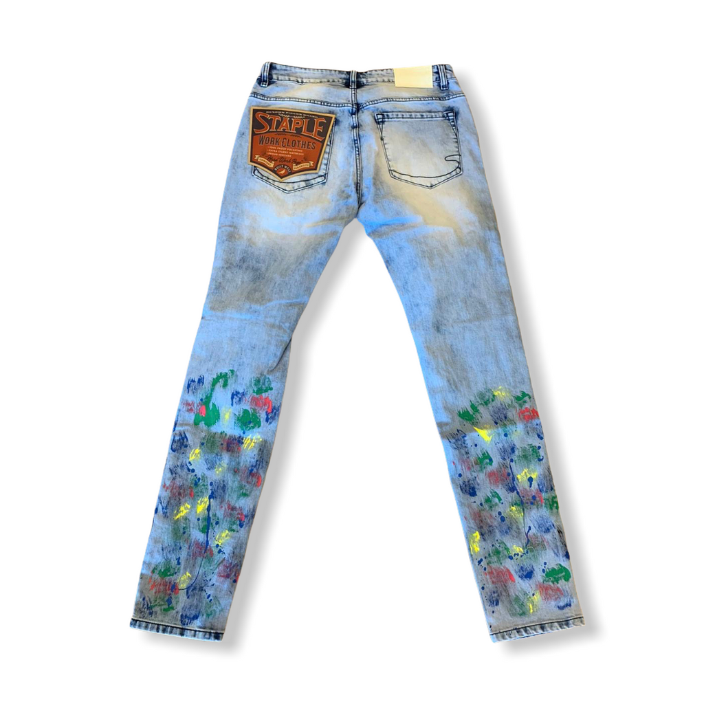 STAPLE: Splatter Denim Pant 2008D6293 - On Time Fashions Tuscaloosa