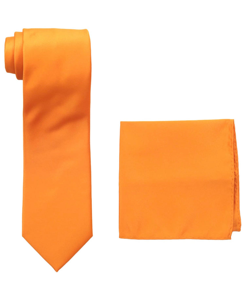 Stacy Adams Solid Orange Tie and Hanky - On Time Fashions Tuscaloosa