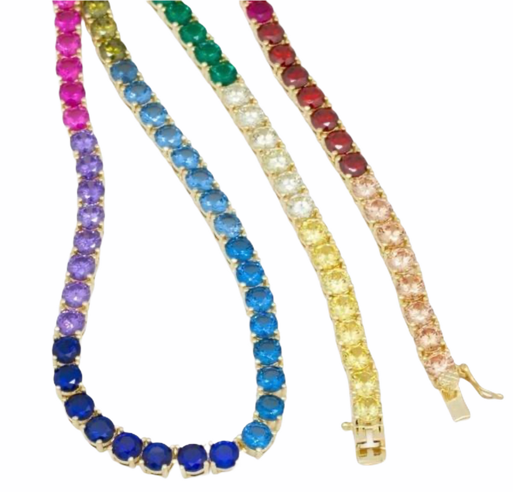 KING ICE: 5mm, 14K Gold Single Row Rainbow Necklace - On Time Fashions Tuscaloosa