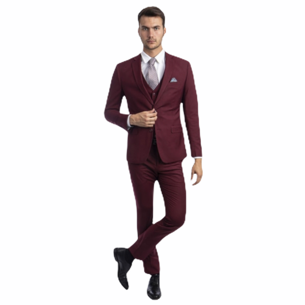 Sean Alexander Solid 3PC. Burgundy - On Time Fashions Tuscaloosa