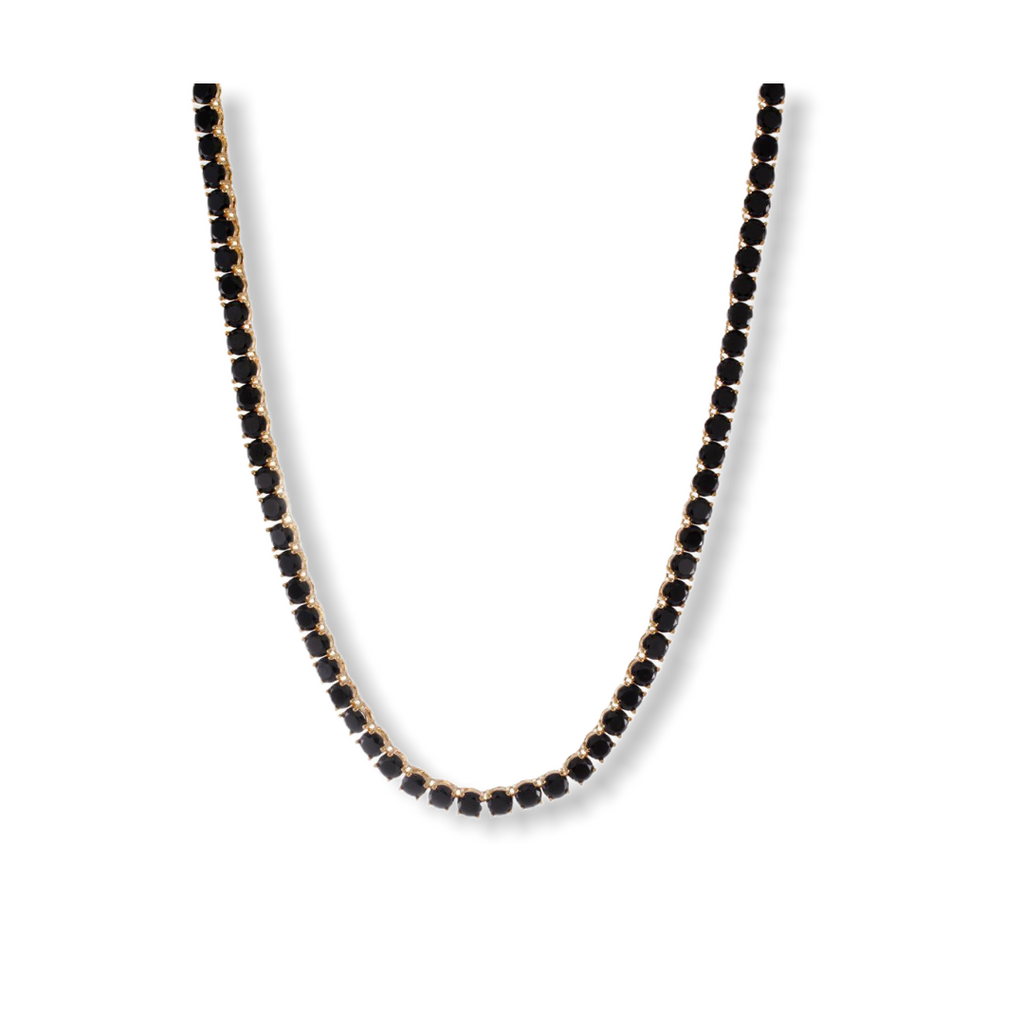 KING ICE: Gold Single Row Onyx Tennis Necklace - On Time Fashions Tuscaloosa