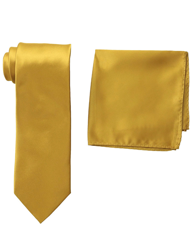 Stacy Adams Solid Gold Tie and Hanky - On Time Fashions Tuscaloosa