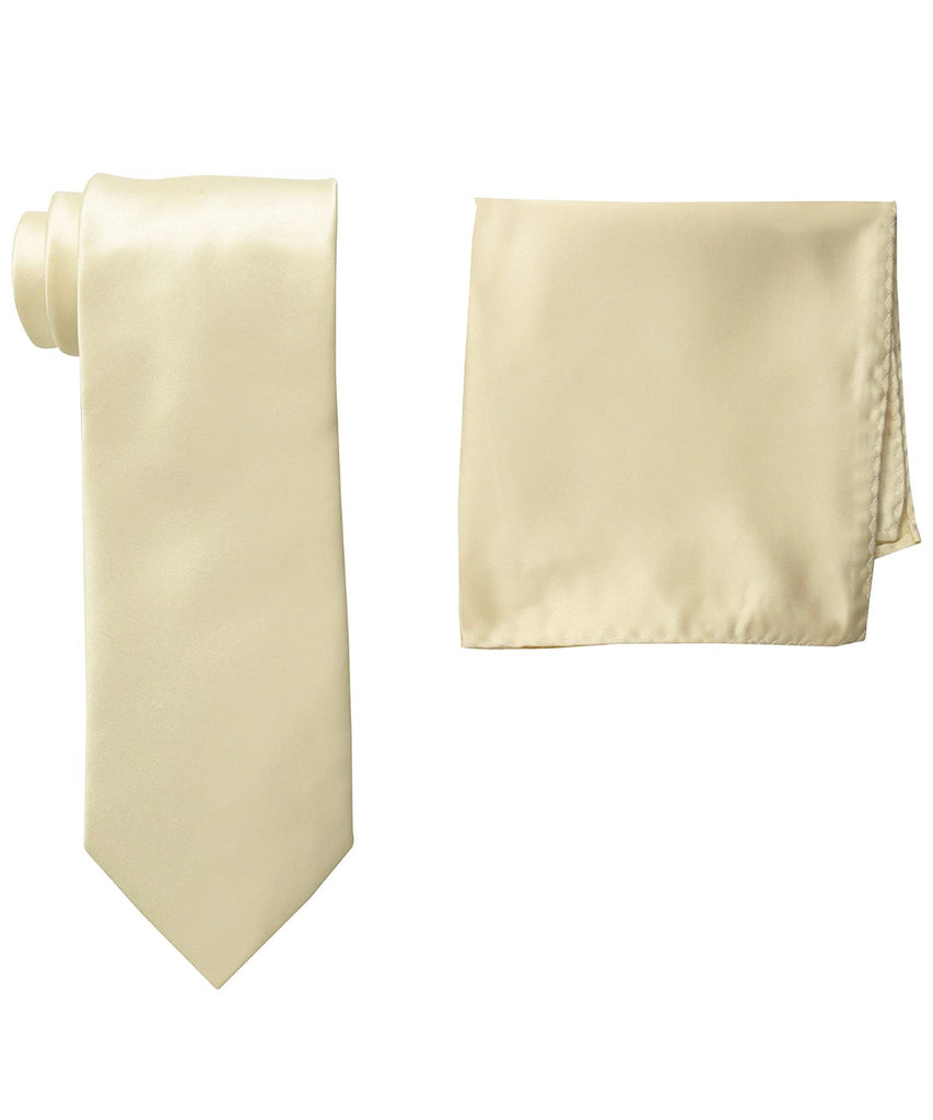 Stacy Adams Solid Ivory Tie and Hanky - On Time Fashions Tuscaloosa
