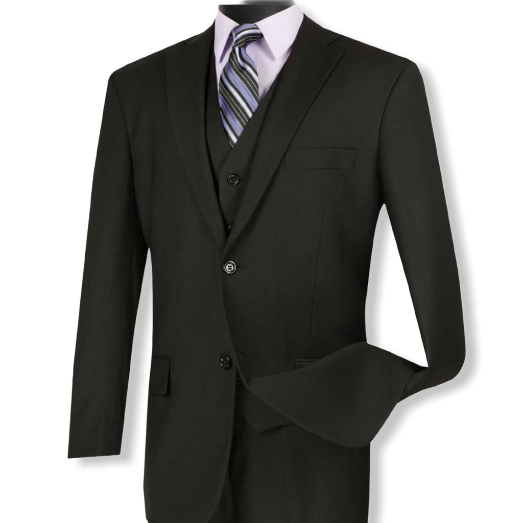 VINCI: 3pc. Solid Vested Suit V2TR - On Time Fashions Tuscaloosa