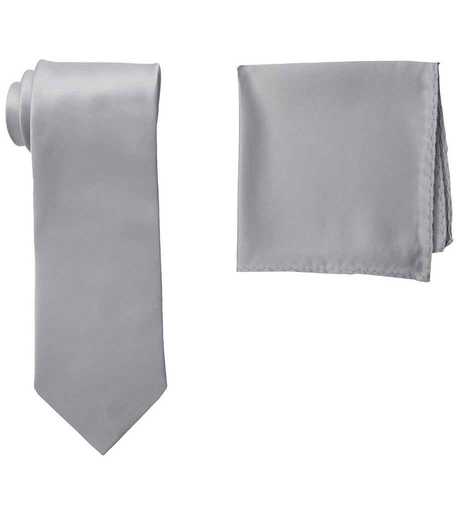 Stacy Adams Solid Grey Tie and Hanky - On Time Fashions Tuscaloosa