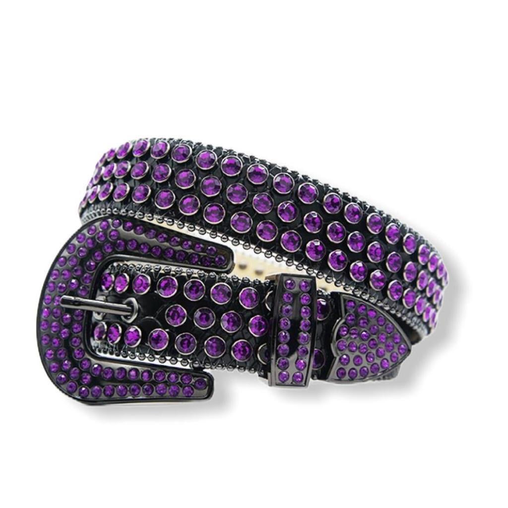 DNA PREMIUM BLACK W/ PURPLE CRYSTAL BELT #95 - On Time Fashions Tuscaloosa