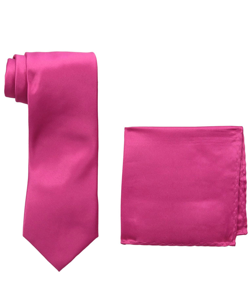 Stacy Adams Solid Hot Pink Tie and Hanky - On Time Fashions Tuscaloosa