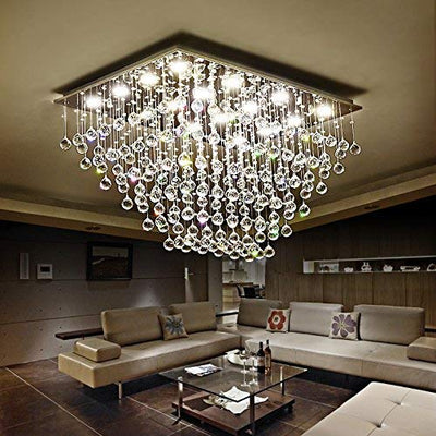 "Saint Mossi 31"" Wide Raindrop Chrome Crystal Chandelier Lighting"