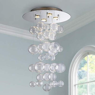 "Saint Mossi 20"" Wide Raindrop Chrome Glass Chandelier Lighting"