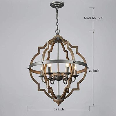 Saint Mossi Stardust Distressed Oak Finish Farmhouse Chandelier Lighting 6*E12 LED Bulbs Required Height 29 Width 21