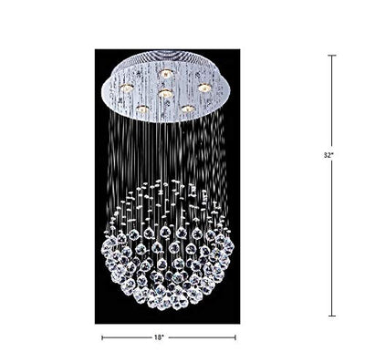 "Saint Mossi 18"" Wide Raindrop Chrome Crystal Chandelier Lighting"