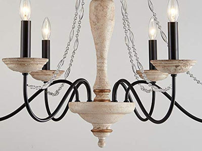 "Saint Mossi 35"" Wide Rustic 6-Light Chandelier Lighting"