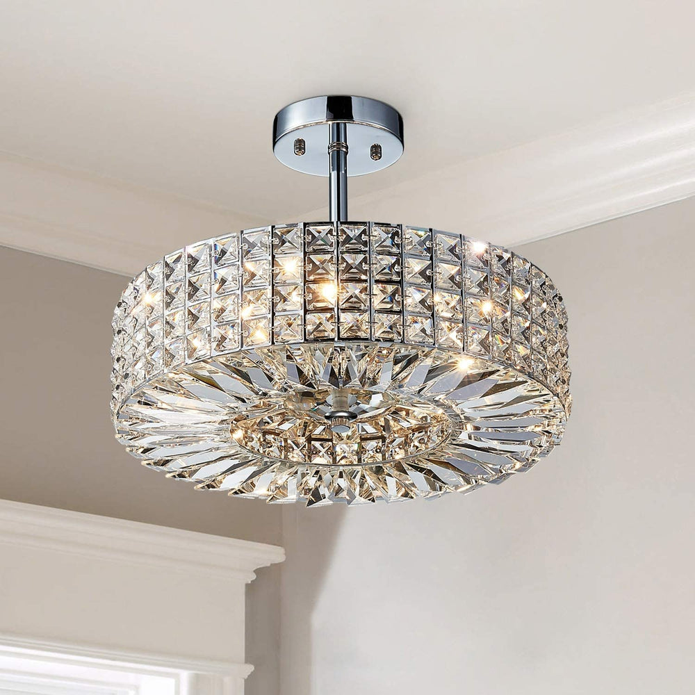 "Saint Mossi 16"" Chrome 5-light Crystal Chandelier"