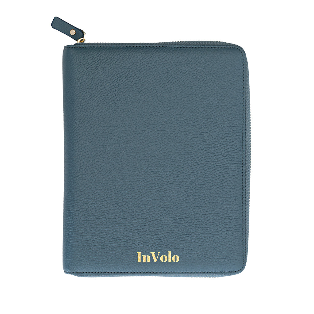 A pebbled leather travel wallet in aegean blue with gold zip and gold stamped InVolo logo