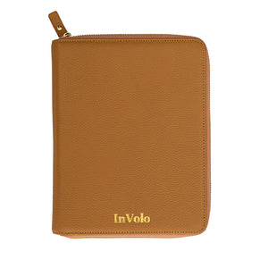 A pebbled leather travel wallet in camel with gold zip and gold stamped InVolo logo