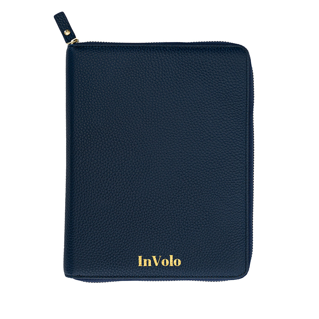 A pebbled leather travel wallet in navy with gold zip and gold stamped InVolo logo