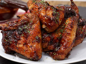Baked BBQ Chicken-Wings w/ mixed veggies and corn bread