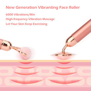 Vibrating Natural Rose Quartz, Jade Roller Face Lifting Massage Tool (With Real Genuine Green Jade Stone)