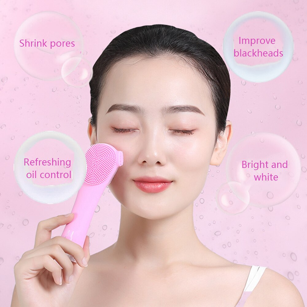 Ultrasonic electric silicone Facial cleansing instrument