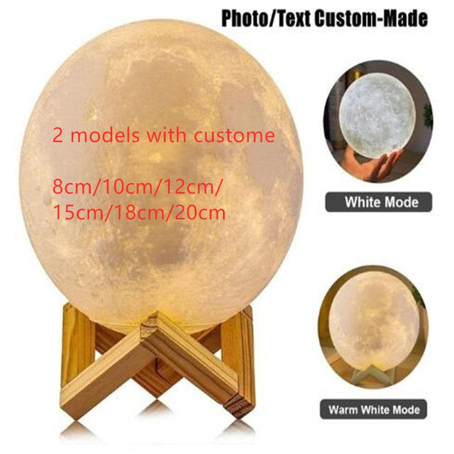 3D Print Moon Lamp Night Light Photo Custom