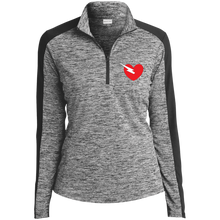 Load image into Gallery viewer, LST397 Sport-Tek Ladies' Electric Heather Colorblock 1/4-Zip Pullover