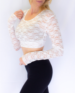 Full Lace Long-Sleeved HALFTEE Nylon/Spandex blend