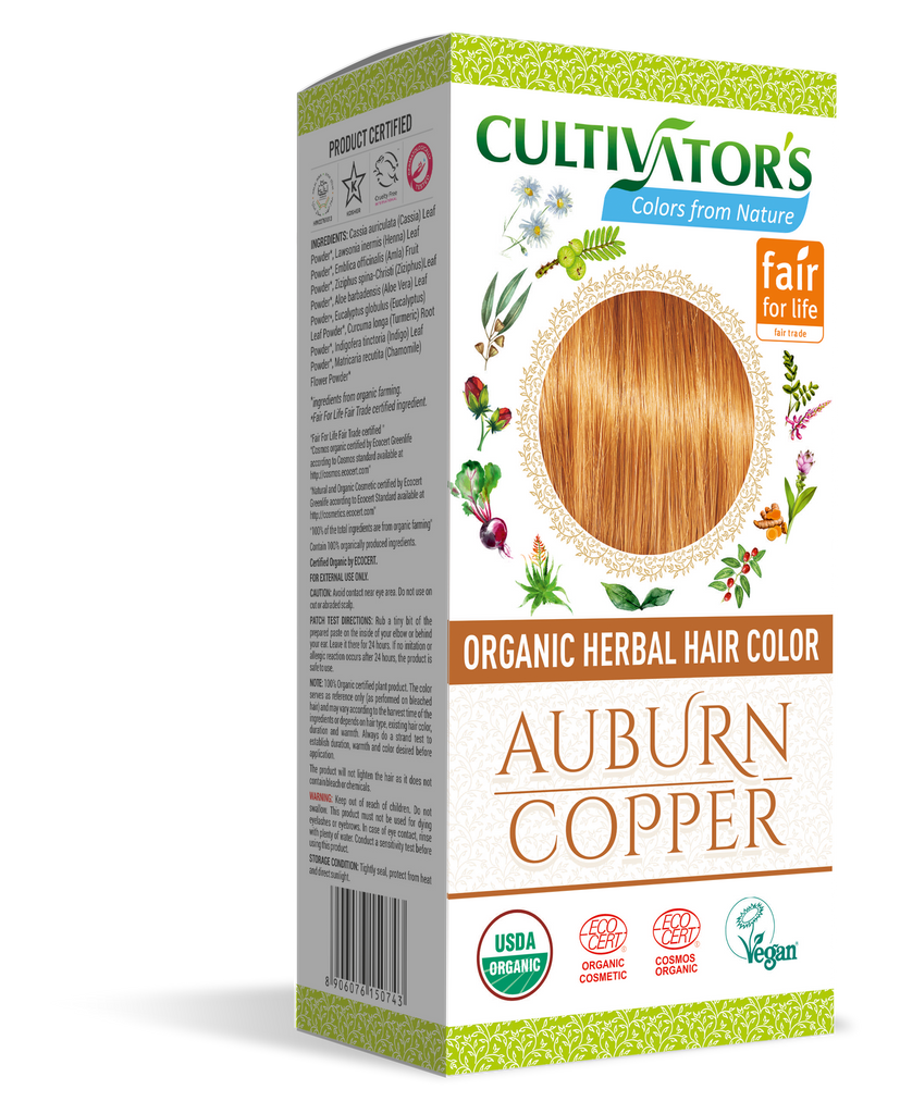 ORGANIC HERBAL HAIR COLOR AUBURN / COPPER - SHOP.CULTIVATOR.IN