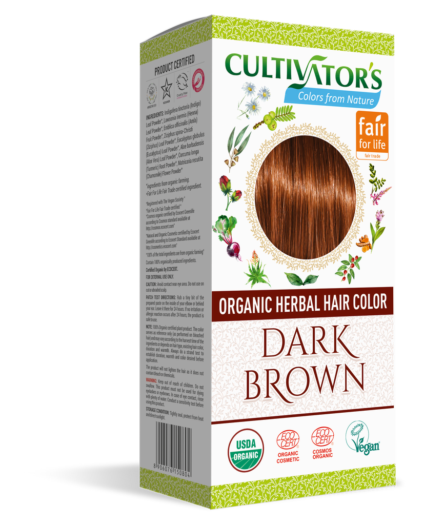 ORGANIC HERBAL HAIR COLOR DARK BROWN - SHOP.CULTIVATOR.IN
