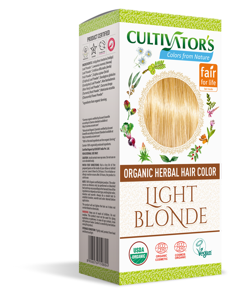ORGANIC HERBAL HAIR COLOR LIGHT BLONDE - SHOP.CULTIVATOR.IN