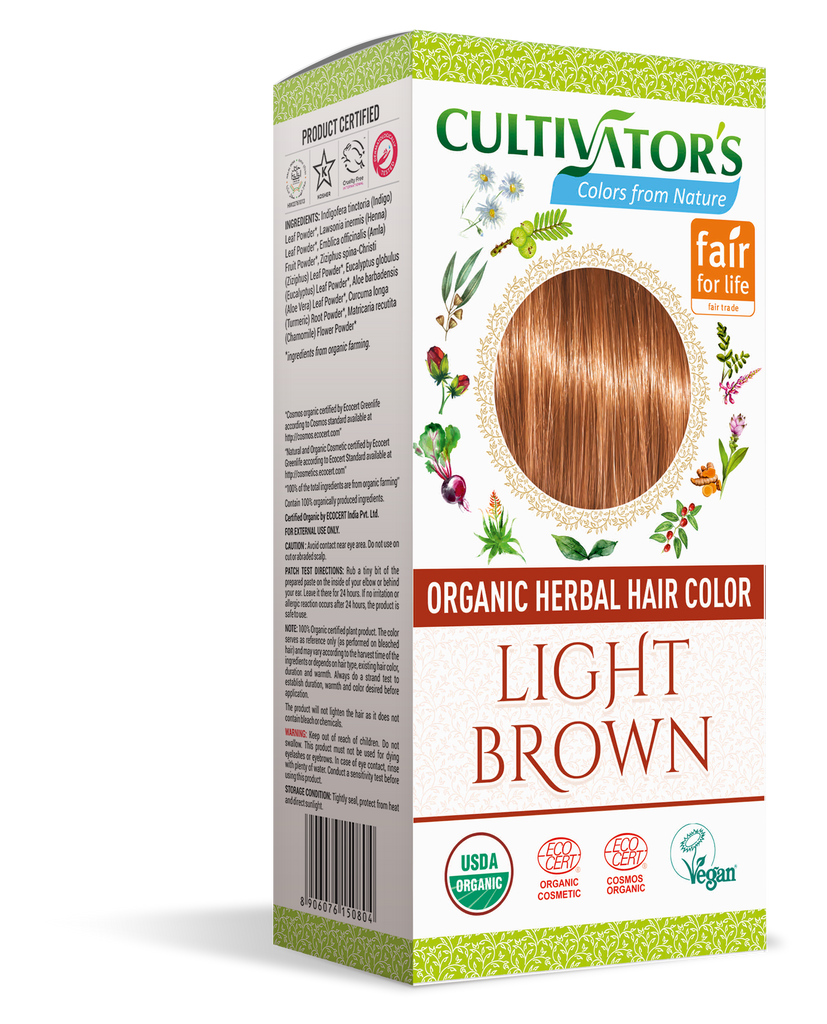 ORGANIC HERBAL HAIR COLOR LIGHT BROWN - SHOP.CULTIVATOR.IN