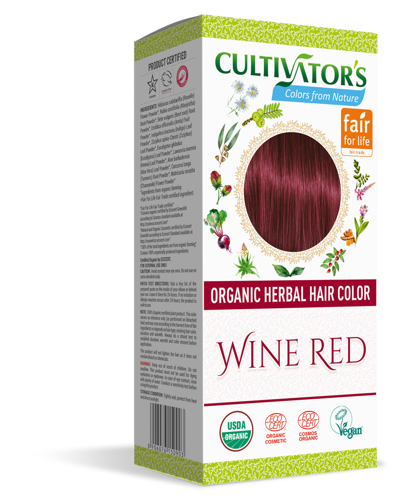 ORGANIC HERBAL HAIR COLOR WINE RED - SHOP.CULTIVATOR.IN