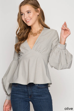 She + Sky Long balloon sleeve striped blouse with back zipper detail