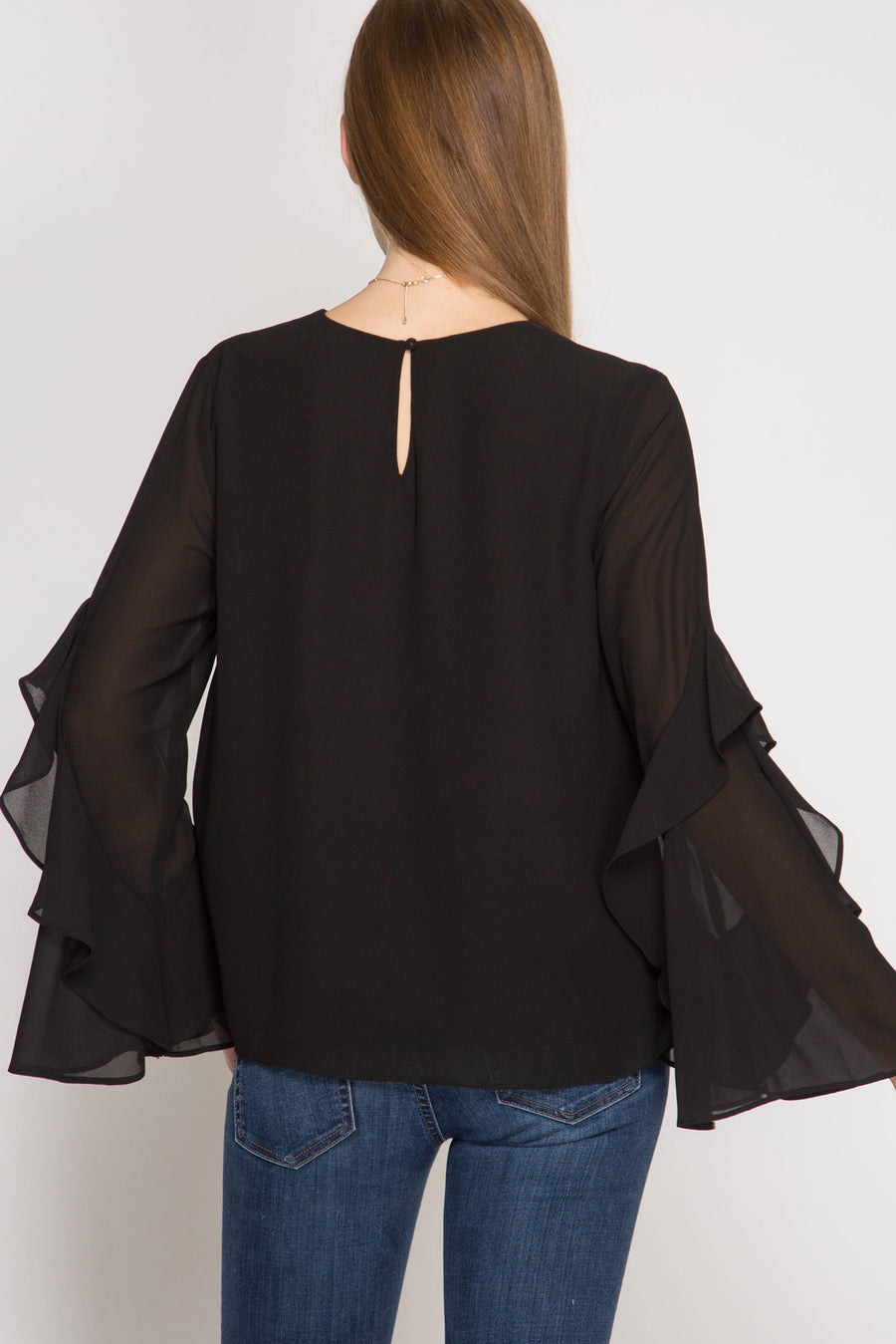She + Sky Long sleeve v-neck top with ruffled sleeves