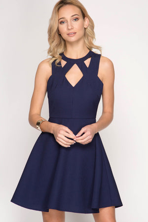 She + Sky Sleeveless waffle textured fit and flare dress with cut out detail and lining